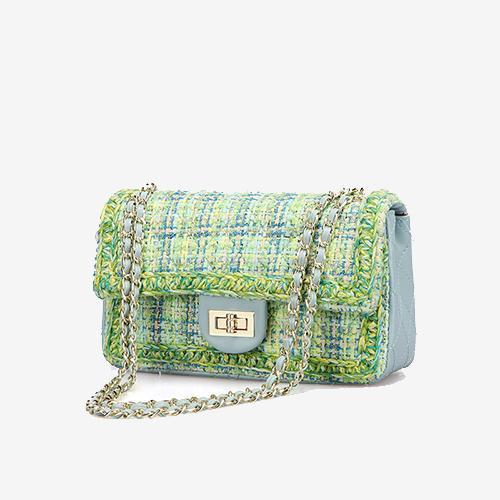 Camille Large Tweed Crossbody Bag with Chain