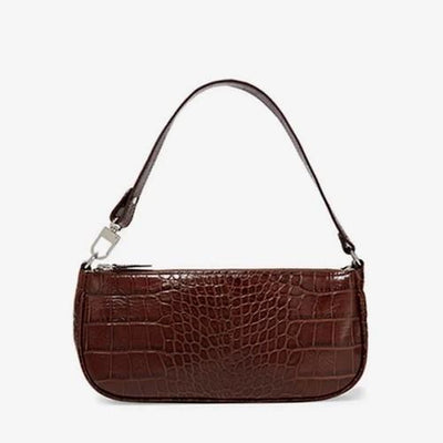 Carrie Retro Croc-Effect Baguette Bag