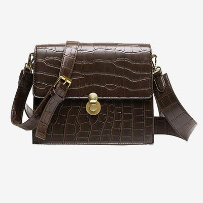 Able Crossbody Accordion Satchel Brown Croc