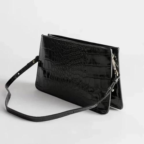 Miranda Retro Croc-Effect Accordion Shoulder Bag