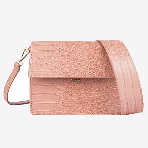 Able Pink Crossbody Bag Croc