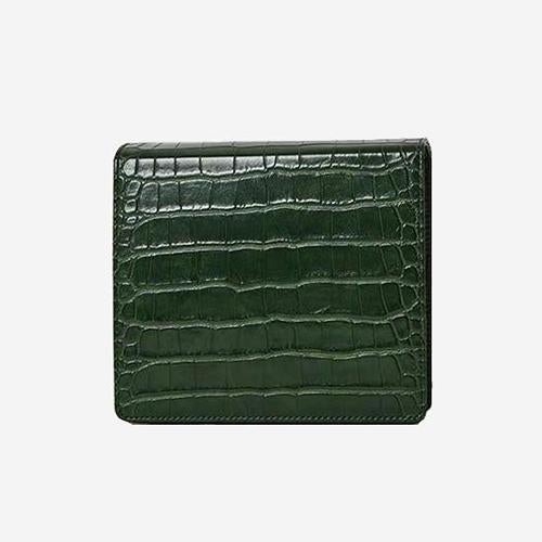 The Modern Times - Vegan Leather Mini Flap Bag Glossy Green Croc Upgraded - perfectein.com