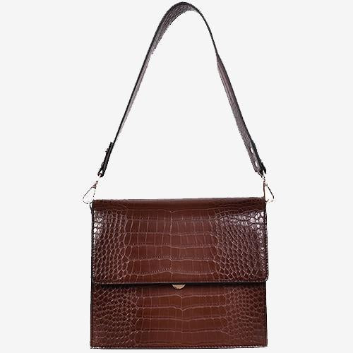 Able Crossbody Bag Croc Brown Vegan Leather