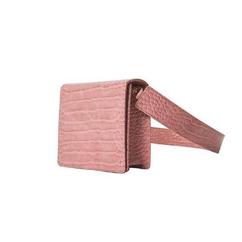 The Modern Times - Vegan Leather Mini Flap Bag Glossy Pink Croc Upgraded - perfectein.com