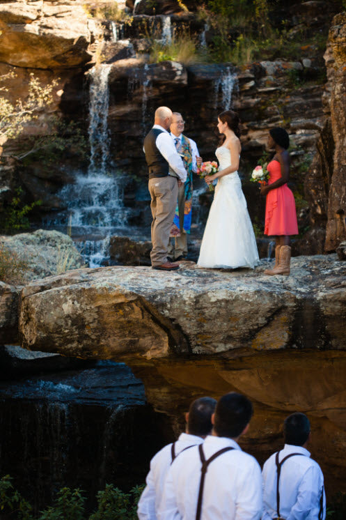 Wedding Story: A Spectacular Waterfall Wedding at Boulder Ridge from Piece of Cake Wedding Decor