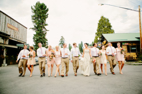 Wedding Story: Tess and Nick's Bigfork, Montana Wedding – Bridal Party – from Piece of Cake Wedding Decor