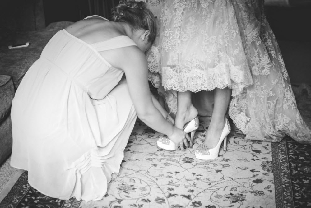 Wedding Story: Tess and Nick's Bigfork, Montana Wedding – Vintage Bridal Shoes – from Piece of Cake Wedding Decor