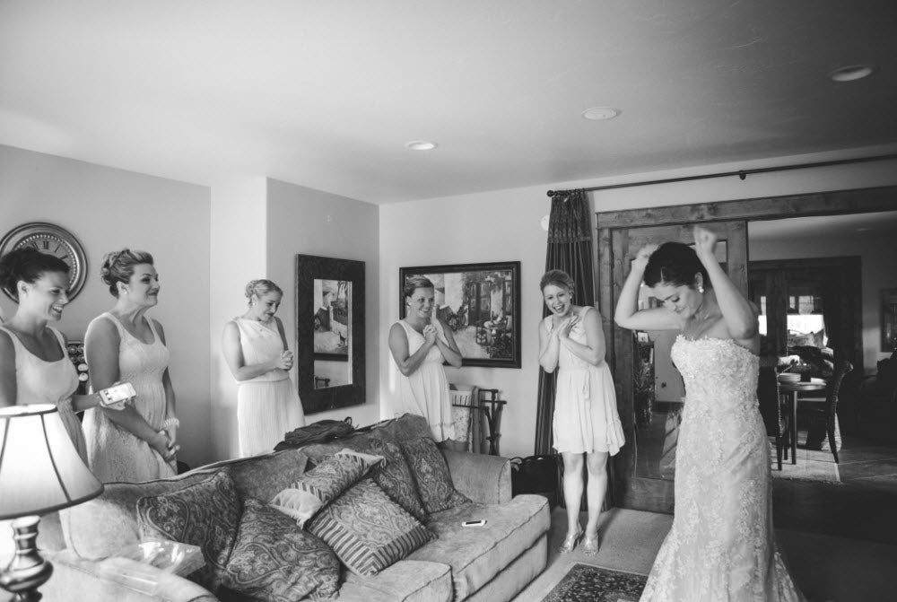 Wedding Story: Tess and Nick's Bigfork, Montana Wedding – Bride and Bridesmaids Getting Ready – from Piece of Cake Wedding Decor