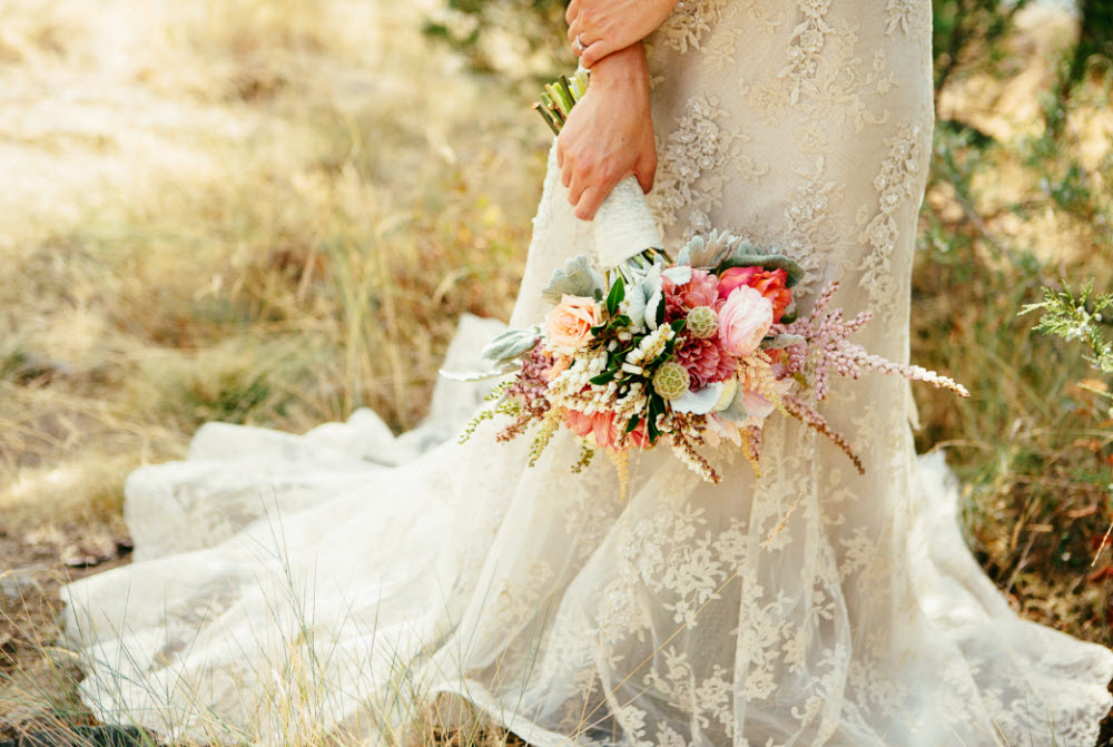 Wedding Story: Tess and Nick's Bigfork, Montana Wedding – Bridal Bouquet – from Piece of Cake Wedding Decor