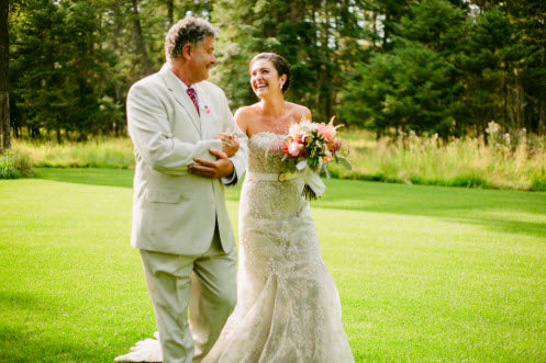 Wedding Story: Tess and Nick's Bigfork, Montana Wedding – Dad walking his daughter down the aisle – from Piece of Cake Wedding Decor