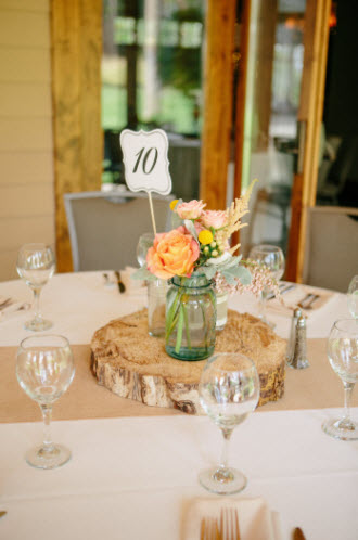 Wedding Story: Tess and Nick's Bigfork, Montana Wedding – Rustic Table Centrepiece – from Piece of Cake Wedding Decor