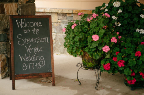 Wedding Story: Tess and Nick's Bigfork, Montana Wedding – Welcome to the Wedding Chalkboard Sign – from Piece of Cake Wedding Decor
