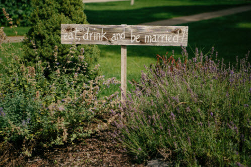 Wedding Story: Tess and Nick's Bigfork, Montana Wedding – Eat Drink and Be Married Sign – from Piece of Cake Wedding Decor