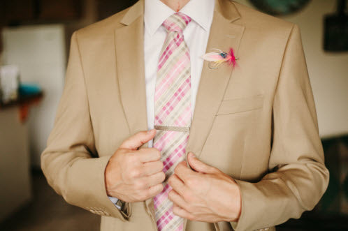 Wedding Story: Tess and Nick's Bigfork, Montana Wedding – Pink Boutonniere – from Piece of Cake Wedding Decor