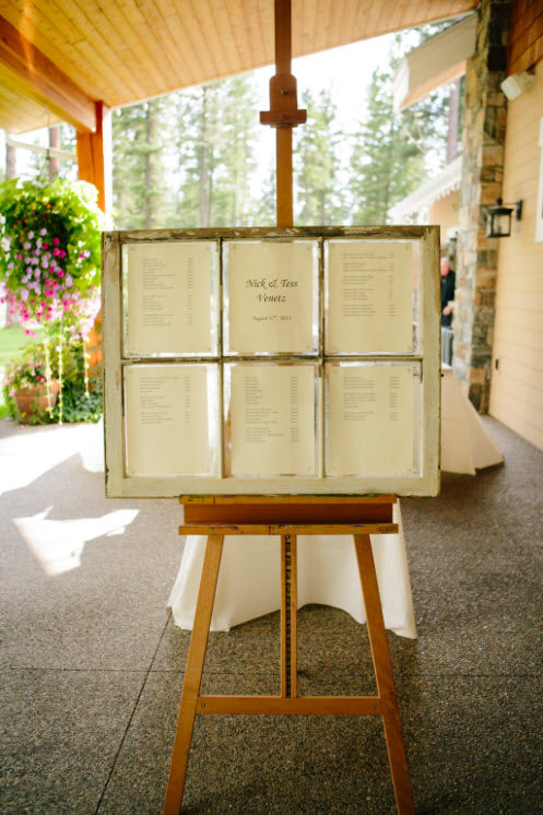 Wedding Story: Tess and Nick's Bigfork, Montana Wedding – Seating Chart in Vintage Frame – from Piece of Cake Wedding Decor