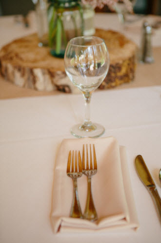 Wedding Story: Tess and Nick's Bigfork, Montana Wedding – Gold Flatware – from Piece of Cake Wedding Decor