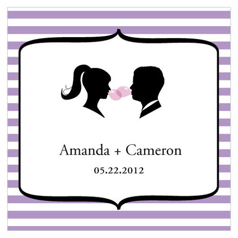 Sweet Silhouettes Square Wedding Favor Tag