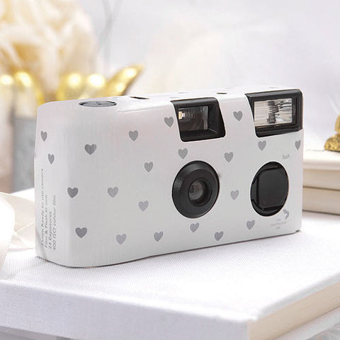 Single Use Camera - White with Silver Hearts