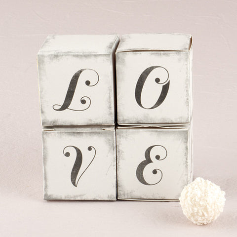 LOVE Cube Favor Boxes with Charming Aged Print