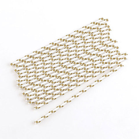 Polka Dot Metallic Paper Straws in Gold