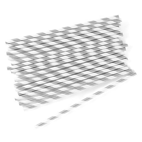 Candy Striped Metallic Print Paper Straws - Silver