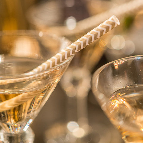 Chevron Pattern Metallic Print Paper Straws - Gold
