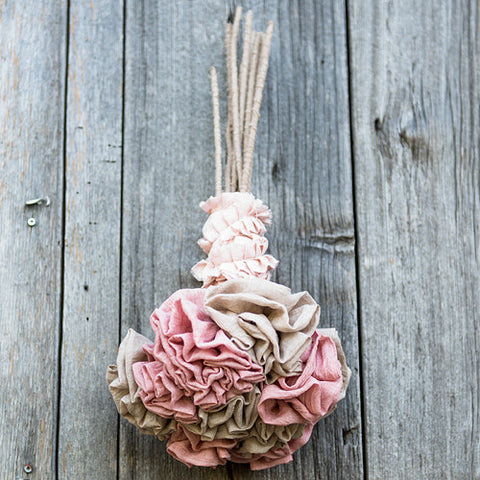 Fabric Ruffle Flower on a Single Wire Stem