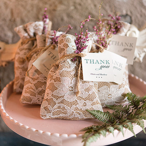 Burlap and Lace Wedding Favor Bag -  Package of 12