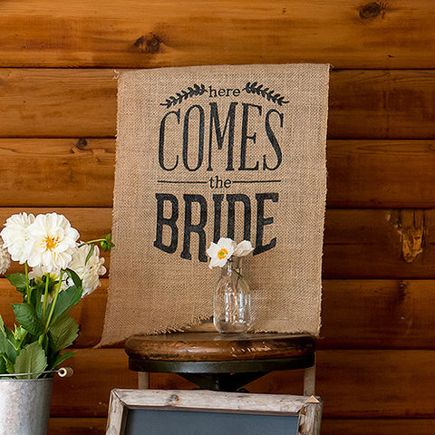 "Burlap ""Here Comes The Bride"" Sign"
