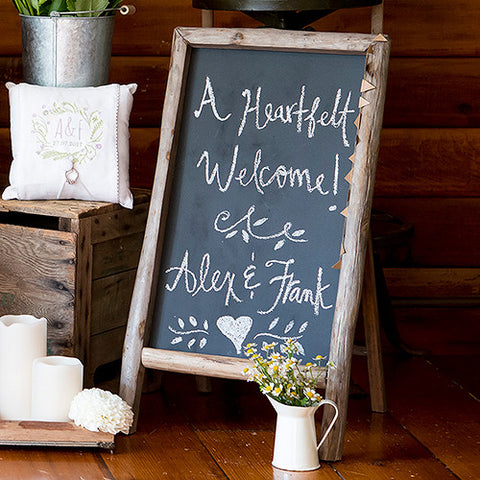 Self Standing Rustic Chalkboard Sign With Wood Frame
