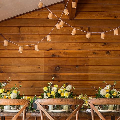 Rustic String Lights with Burlap Shades