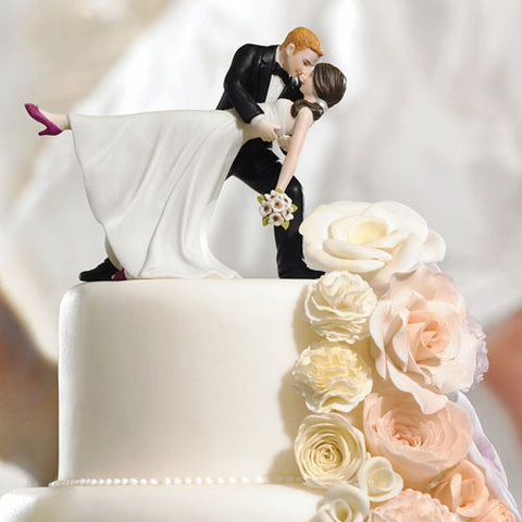 A Romantic Dip Dancing Bride and Groom Couple Cake Topper
