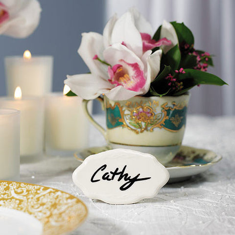 Reusable White Ceramic Place Card