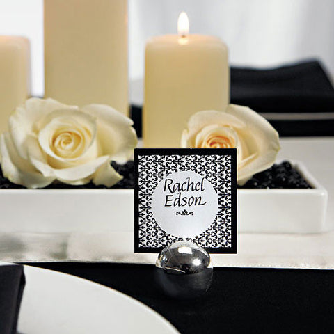 Silver Round Wedding Place Card Holders