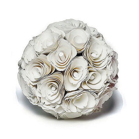 Floral Pomander Ball made with Wood Curls - Wedding Kissing Balls White