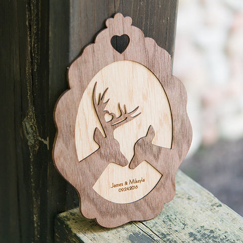 Personalized Wood Veneer Deer Sign