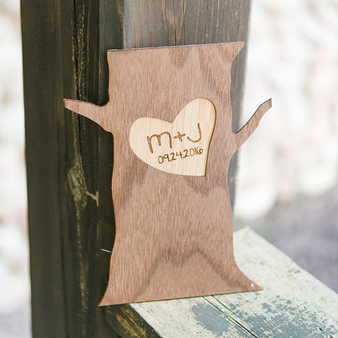 Personalized Wood Veneer Tree Trunk Sign