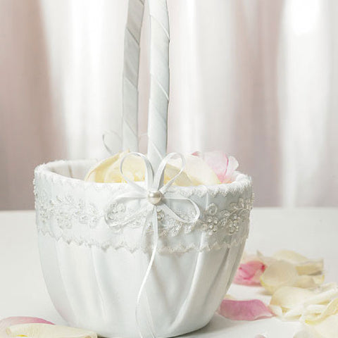 Sweet Art White Flowergirl Basket