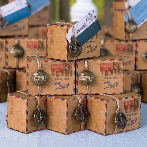 Vintage Inspired Airmail Favor Box Kit