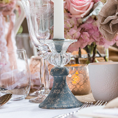 Vintage Inspired Taper Candle Holder Pastel Blue