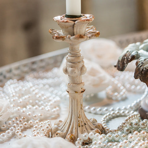 Vintage Inspired Resin Taper Candle Holder