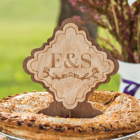 Wood Veneer Monogram Cake Topper