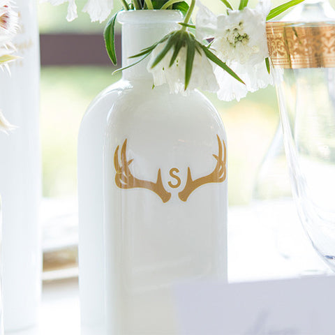 Woodland Wedding Monogram Antler Small Cling