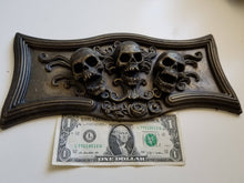 Load image into Gallery viewer, Triple Skulls Plaque Coffin/tombstone resin decor