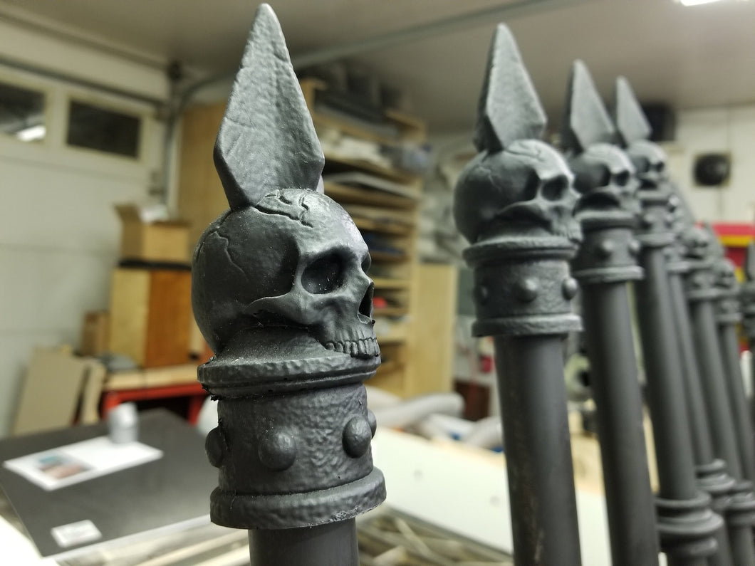 1 dozen Skull Fence Finial for PVC pipe (resin)