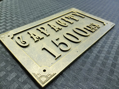 Vintage Elevator Capacity Panel Replica (Resin)