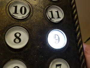 Elevator Trio - 13 floor panel, Call button panel and Elevator sign.