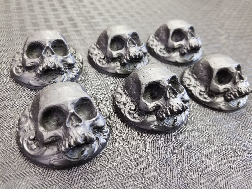 Set of 6 Skull  Rosettes (resin)