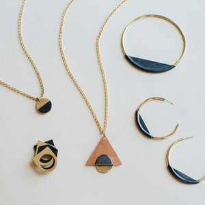 Geometric minimalist jewelry inspired by nature
