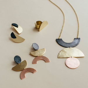 Minimalist fair trade modern jewelry inspired by mid-century design